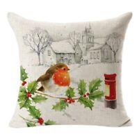 Weihnachten Quadrat Wurf Flachs Kissenbezug dekorative Kissen Kissenbezug E5S7