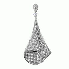 Sterling Silver Drop Dangle Charm Pendant with AAA quality CZ in Micro Pave Set