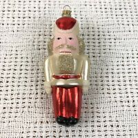 Vintage Lauscha Glas Creations Christmas Ornament Nutcracker Red & White Germany