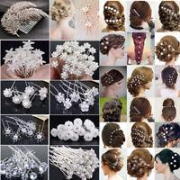 20/40Pc Women Wedding Bridal Pearl Flower Crystal Hair Pins Clips Bridesmaid Lot