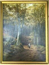 Henry Cheadle Original Oil On Canvas A Woodland Walk Collecting Firewood