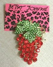 Green Leaf Brooch Pin New Beauty! Betsy Johnson Sparkling Crystal Red Grapes &
