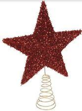 Christmas Tree Topper Star Design Fleck Finish RED Xmas Festive Decoration Top
