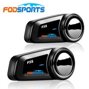 2x FX6 Motorcycle Headset 1KM Bluetooth Intercom FM 6Riders Group Communication