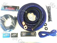 Oversized 1/0 Ga AWG Amp Kit Triple Shield RCA BLUE Black Complete Sky High Car