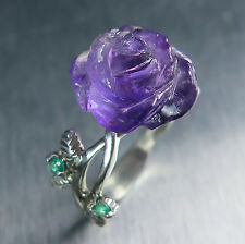 Natural Amethyst purple rose & emerald 925 Silver Gold Platinum ring
