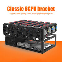 6 GPU Open Mining Rig Frame Stackable Mining Frame Rig Case for ETH/PSU/ATX