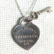 Tiffany & Co Heart & Key Sterling Silver 925 Necklace Marked