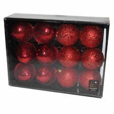 Boîte de 12 Perle & Sequin Noël 80mm Boules - Rouge