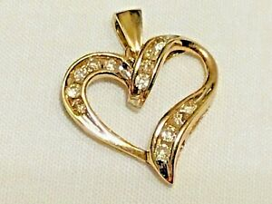 10K YELLOW GOLD CHAMPAGNE COLOR DIAMOND HEART 1/4 CT CHANNEL SET