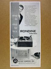 1956 Rek-O-Kut RONDINE Turntable photo vintage print Ad