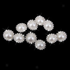 10x Crystal Rhinestone Pearl Buttons DIY Embellishment Sewing Crafts 21mm