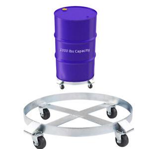 1000 lb 55 Gallon Drum Dolly Heavy Duty  w/ Swivel Casters Steel Frame Easy Roll