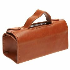 Brown Leather Travel Pouch Case Shaving Brush & Razor Toiletry Bag Portable Type