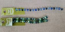 Bead Gallery Glass Aqua Mix 5x8mm Faceted Rondelle  & Sapphire Mix Glass Rondel