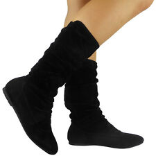 Womens Pixie Mid Calf Rouched Flat Pull on Knee Long Ladies Slouch BOOTS Size UK 6 / EU 39 / US 8 Black