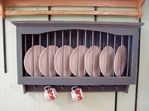 "Plate and Mug Cabinet 48"" Solid PIne Wood Rustic Primtive Plate Display Rack"