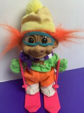 "1980's Born to Ski 9"" Troll Orange Hair Yellow Hat Green Shirt Pink Skis Poles"