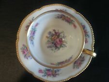 Castleton China Rose Footed Tea Cup Saucer USA  Antique