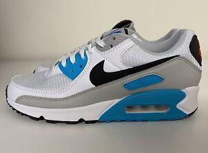 Nike Air Max 90 Chlorine Blue White Grey Mens Sz 10 Running Shoes CV8839-100 NEW