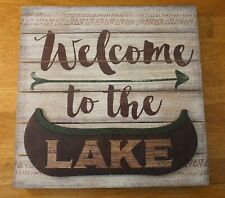 New listing Welcome To The Lake Arrow Sign Rustic Canoe Wood Plank Cabin Lodge Home Decor