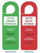 6 X Türschild Türhänger BITTE ZIMMER AUFRÄUMEN, BITTE NICHT STÖREN, 5 Sprachen