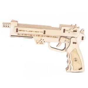 Pistol 3D Puzzle Toy Wooden Gun Model Assembly Gift for Kids Boy Teens DIY Kit