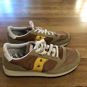 Saucony Jazz Original Retro Sneakers Tan / Sand Mens 7.5 Suede Mesh Shoes New