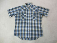 Ely Cattleman Pearl Snap Shirt Adult Large Blue Brown Plaid Rodeo Cowboy Western