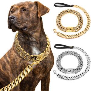 Heavy Duty Rhinestone Dog Chain Collar&Leash Stainless Steel Choker Real Leather