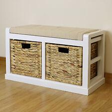 White Hallway/Bathroom Shoe Storage Bench Seat Foam & Wicker Cushion/2 Baskets