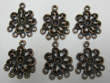 6 Pieces Metal Flower Chandelier Earrings Copper Tone For Jewellery Making JF431