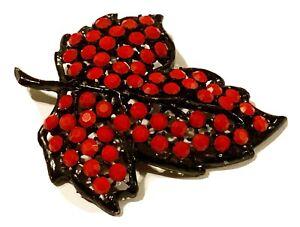 Weiss Vintage Solid Red Rhinestone Leaf Brooch Pin Black Setting Stunning!