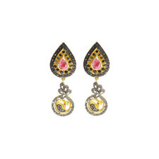 Sterling Silver Victorian Rhodium Plated Gemstone Dangle Earring Jewelry Women