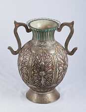 Large Middle Eastern Hand Made Ceramic Jug with Decorative Metal Overlay