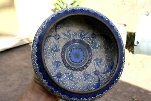 Chinese Antique Cloisonne Enameled Solid Heavy Bronze 4 Colors Blue&White/Gold/w