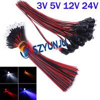 3V 5V 12V 24V 5MM LED Diode Light Clear 20cm Cable Pre-Wired With Plastic Holder