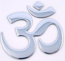 "Aum Om Yoga chrome finish decal emblem 3D sticker for car bike 2.5"" flexible"