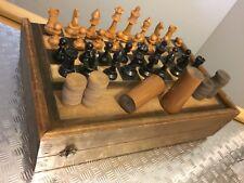 Échec Backgammon Jeu Ancien Boîte Bois Chess Game Staunton Antique