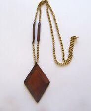 Fashion Necklace& Pendant-  Brown Wood Pendant-diamond shape- gold tone chain