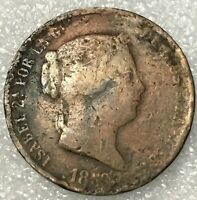 1859 SPAIN 🇪🇸 Copper 25 CENTIMOS de REAL Coin, ISABEL II, free combined S/H.