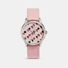 NWT Coach W1546 14502983 Women's Checker Heart Blush Pink Leather Strap Watch