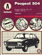 PEUGEOT 504 TI,SL,GL,L,AUTOBOOKS OWNERS WORKSHOP MANUAL 1968-1979