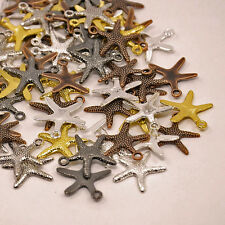 10 Starfish Charms Assorted Lot Silver Bronze Copper Black Gold Pendants
