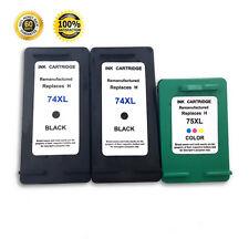 3 Pack Reman Ink Cartridge For HP 74XL 75XL Photosmart C5200 C5225 C5250 C5270