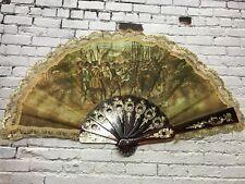 Vintage minature lace trim hand fan - hostorical war scene