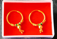 Real looking 22 ct gold plated EARRINGS - Indian girls ladies Style hoop  h47