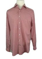 Suitsupply Mens Red White Check Long Sleeve Button Shirt Size 44-17.5