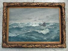 ANTIQUE ERNEST DADE (1868 - 1935) SEASCAPE OIL PAINTING ON CANVAS WILLIAM VERRIL