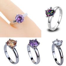 Big Round Topaz Gemstone Jewelry White Gold Plated Silver Ring Women Size 6-13